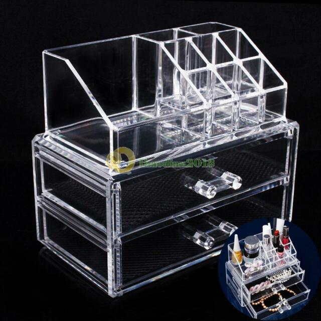Acrylic Cosmetic Organizer Drawer Makeup Case Storage Insert Holder Desk Box New