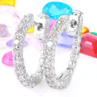 1.10 Carat Natural Diamond 14k Solid White Gold Hoop Earrings