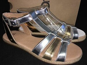 e812db9f93c Details about UGG Australia LANETTE METALLIC STERLING GOLD LEATHER ANKLE  STRAP SANDALS 1011217