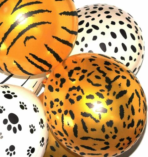 "10x 12/"" Mixed Safari Animal Print Latex Balloons Striped Spotted Wild Decor"