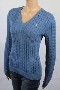 Ralph scollo Nwt Lrl blu White maglia Lauren in a con V Maglione xfP0B