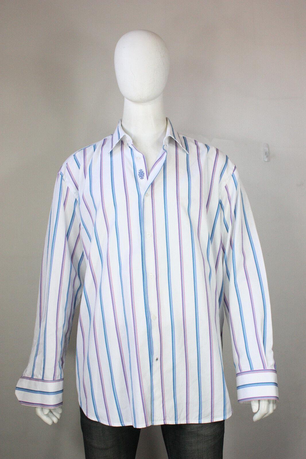 Robert Graham Hemd Hemd Hemd 3xl 19 48 Streifen Weiß Blau Lila Baumwolle Flip Manschette | Hohe Sicherheit  373dd6