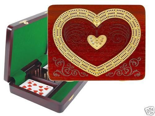 Continuous Cribbage Board 3 Tracks Heart Shape Bloodwood - House of Cribbage