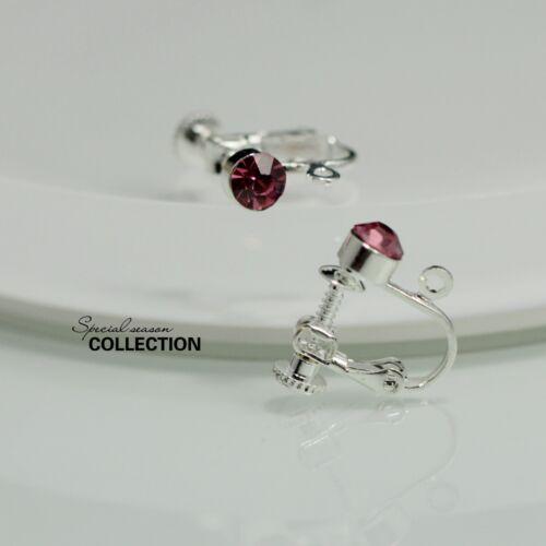 Clips a Vis Pour DIY Boucles d`Oreilles Argenté Cristal Rose Vif Original