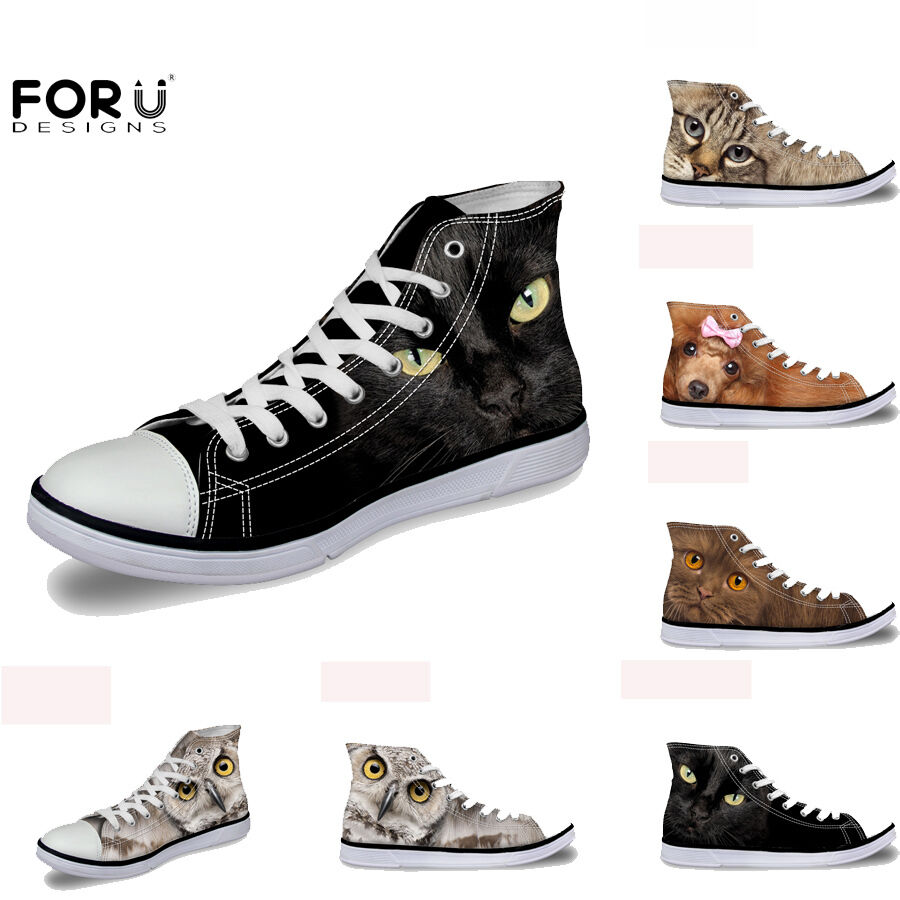 Ladies Canvas shoes Cool Black Women Hi Top Lace Up Trainers Walking Sneakers