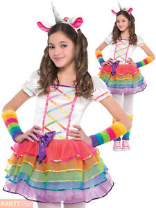 cfff0669e098 Details about Girls Rainbow Unicorn Costume Childs Fairytale Fantasy Fancy  Dress Kids Outfit