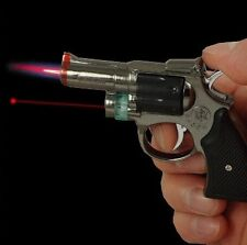 Revolver Gun Torch Lighter With Laser Pointer-Assorted Color-1 pc free shipping