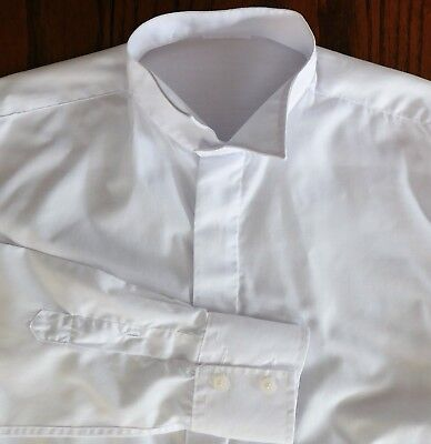 """Wing collar shirt size 15"""" British Home Stores vintage 1980s mens formal dress"""