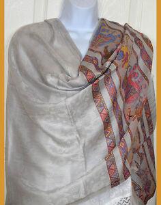 Pashmina-Silk-blend-paisley-elephant-gray-silver-Shawl-Stole-Wrap-from-India