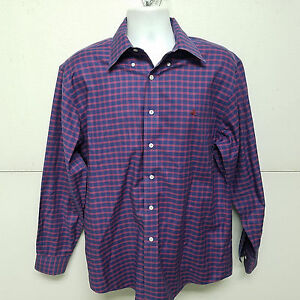 Brooks-Brothers-Purple-Brick-Red-Check-Long-Sleeve-Dress-Shirt-Sheep-Logo-Medium