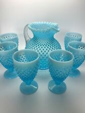 Vintage Fenton Hobnail Blue Opalescent Pitcher and Footed Iced Tea Glasses