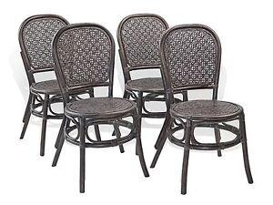 Juego de 4 sillas de lado Timor rattan comedor de mimbre Color ...