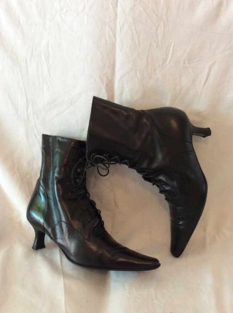 Per Una Black Ankle Leather Boots Size 36