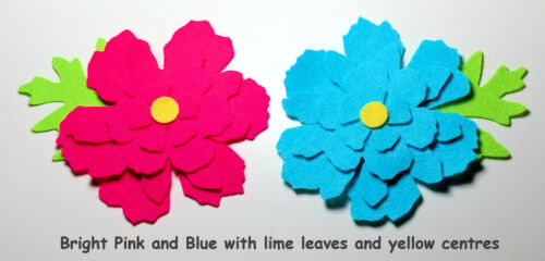Felt Flower Petals /& leaves Die Cuts Vivid Pink Blue Appliques Trimmings Floral