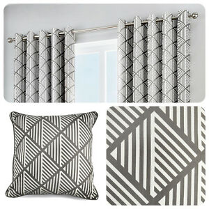 Fusion-BROOKLYN-Grey-100-Cotton-Ready-Made-Eyelet-Curtains-amp-Cushions
