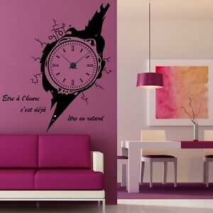 sticker mural horloge g ante montre design avec m canisme aiguilles ebay. Black Bedroom Furniture Sets. Home Design Ideas