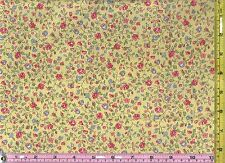 Light Yellow Small Print Calico Cotton Quilt Fabric 1/4 yard 22.5 cm off bolt