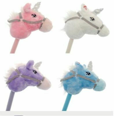 Blue Kids Play Galloping Unicorn Hobby Horse Soft Pony Toy Sparkle real Sound