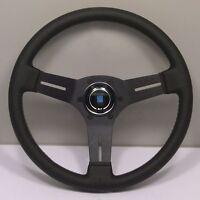 Nardi Competition Leather Steering Wheel W/ Black Spokes & Grey Stitch 330mm