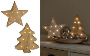 LED Holz natur Baum Stern Weihnachtsdekoration Batteriebetrieb Fensterdekoration