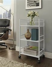 White Rolling Cart Storage Bar on Wheels Home Office Mobile Utility 3 Shelf NEW