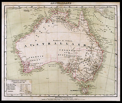 1859 Australia Australien Australland Original Landkarte Lithographie Old Map
