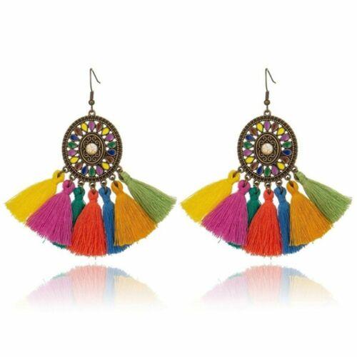 Colorful Tassel Boucles d/'oreilles Femme Rétro Ethnique Pendentif Boucles D/'oreilles Charme Bijoux