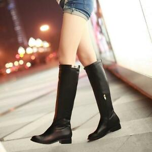 Riding-Knee-High-Boots-Womens-Leather-Flat-Heel-Side-Zipper-Boot-Shoes-US8-9-10