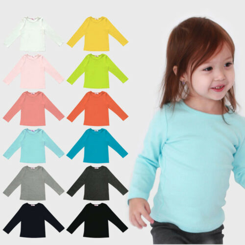 1PC Fashion Toddler Baby Boys Girls Lovely Long Sleeve Tops Candy Colour Clothes