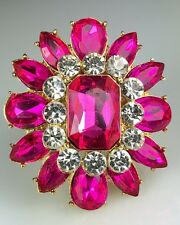 """Big & Showy! 1 1/2"""" Pink Crystal Rhinestone Ring, Drag Queen, Stage, Evening"""