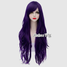 Lolita Dark Purple Long 80CM Wavy Fashion Party Cosplay Wig + Wig Cap