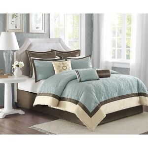 Super-Deluxe-Embroidered-Blue-Quilted-Damask-Comforter-9-pcs-Set-King-Queen