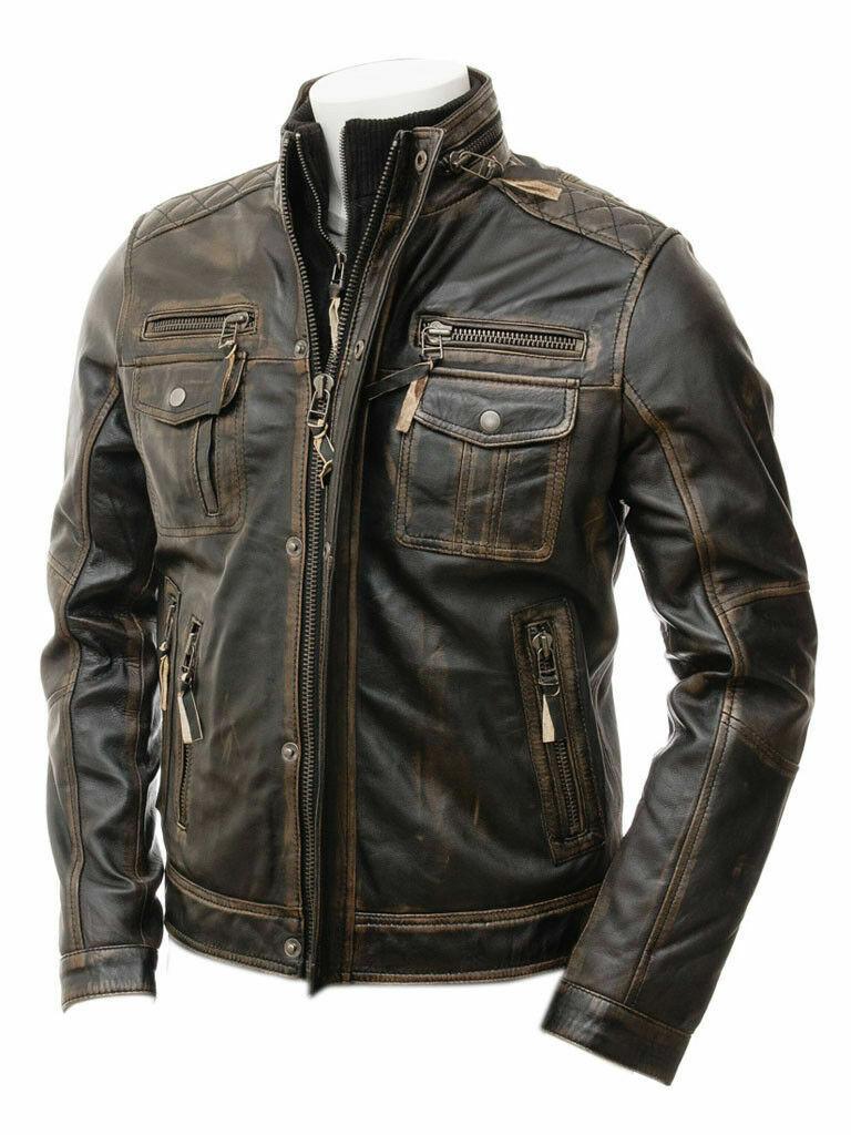 Mens Terminator Black Classic Vintage Distressed Biker