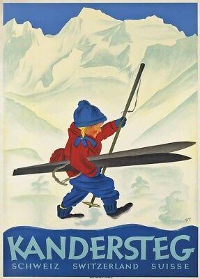 1921 Caux Switzerland Ski Resort Vintage Travel Poster 20x30