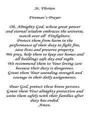 """St. Florian's Firefighter Prayer 8"""" x 10"""" Printed Quilt Block COTTON Fabric"""