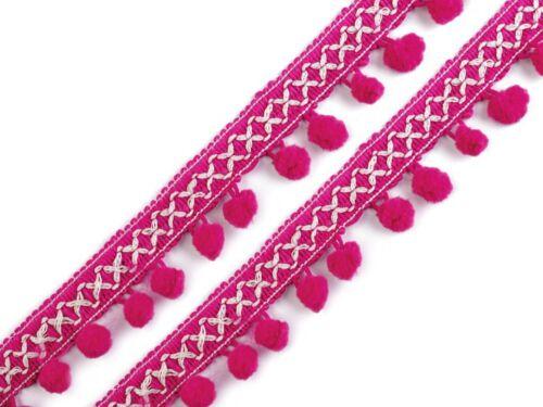 3m Pompon Bommelborte Bommeln Bommelband pink-weiß 35 mm mit Bommeln Ø12 mm