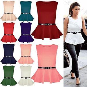 d63453ba0f1cbd Image is loading New-Womens-Ladies-Plus-Size-Peplum-Top-Sleeveless-