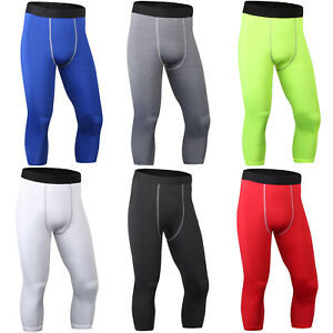 Mens-Running-Gym-Compression-Base-Layer-3-4-Pants-Skin-Fitness-Trousers-Leggings