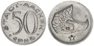 Notgeld Aachen 50 Pfennig 1920 vz 53573