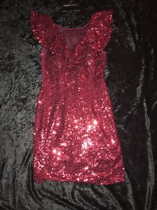 e81c7ec3bb8 Juniors Dear Moon Red Sequin Dress w Mesh Neckline   Sides-Size 5 ...