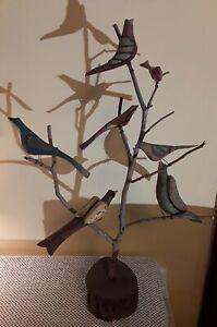 Daniel Strawser Hand Carved Pennsylvania Folk Art Bird Tree c.1984