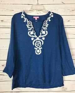 Lilly-Pulitzer-Blue-White-Embroidered-Linen-Tunic-Top-Shirt-Women-039-s-S-Small-138