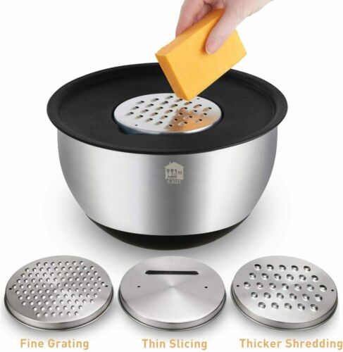3 Grater Attachments Mixing Bowls Set of 5 Stainless Steel w Airtight Lids