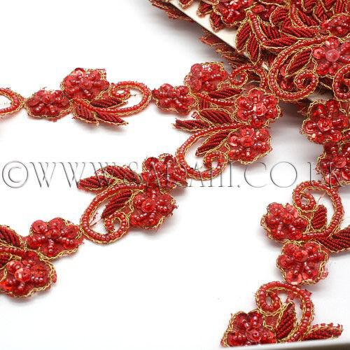 Motif Floral Rouge artisanat coudre parage paillettes perles Embellissement Costume bordure Trim