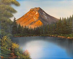 Original-Signed-Landscape-Oil-Painting-Art-Decor-16x20-Canvas-Bob-Ross-Style