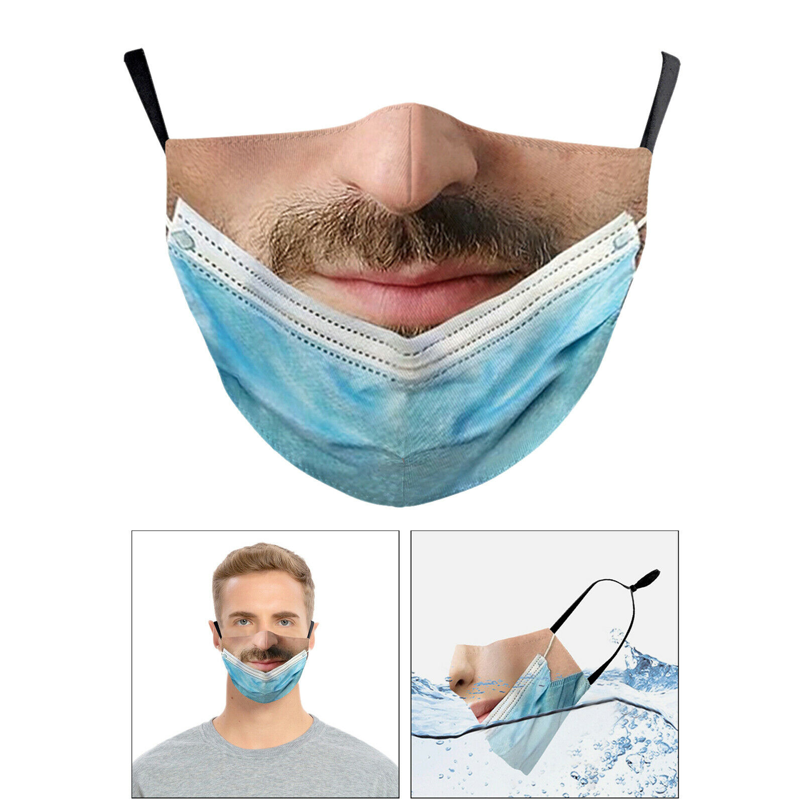 Face Mask Maskless Pulled Down Prank Mouth Covering Trick for Men Women A