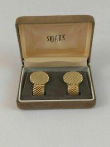 Vintage-Swank-Men-039-s-Cufflinks-Gold-Tone-Retro-with-Felt-Case-Signed-Gift