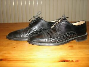 Saks 5th Avenue Dress Man's Shoes Size 10.5 Black Italy Pre-Owned Good Condition