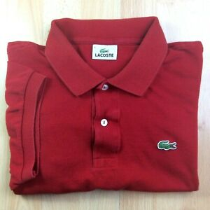 Lacoste-extra-large-XL-6-rouge-solide-a-manches-courtes-Polo-Shirt-Logo-Genuine