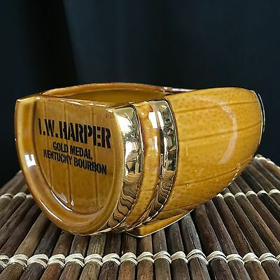 I.W. Harper KENTUCKY BOURBON WHISKEY Gold Medal Ceramic Barrel Vintage Mug Vase